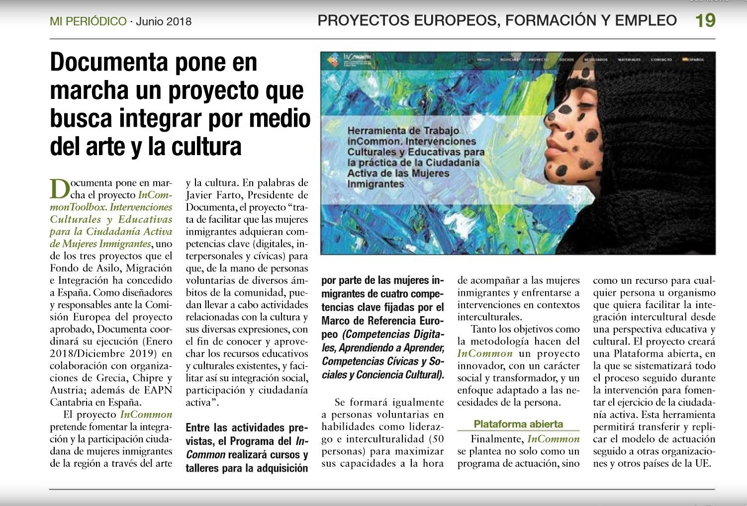 InCommon in the local media. Press review about InCommon project in Mi Periódico (Spain)